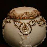 Victorian Milk Glass Biscuit Jar or Cracker Barrel Handpainted