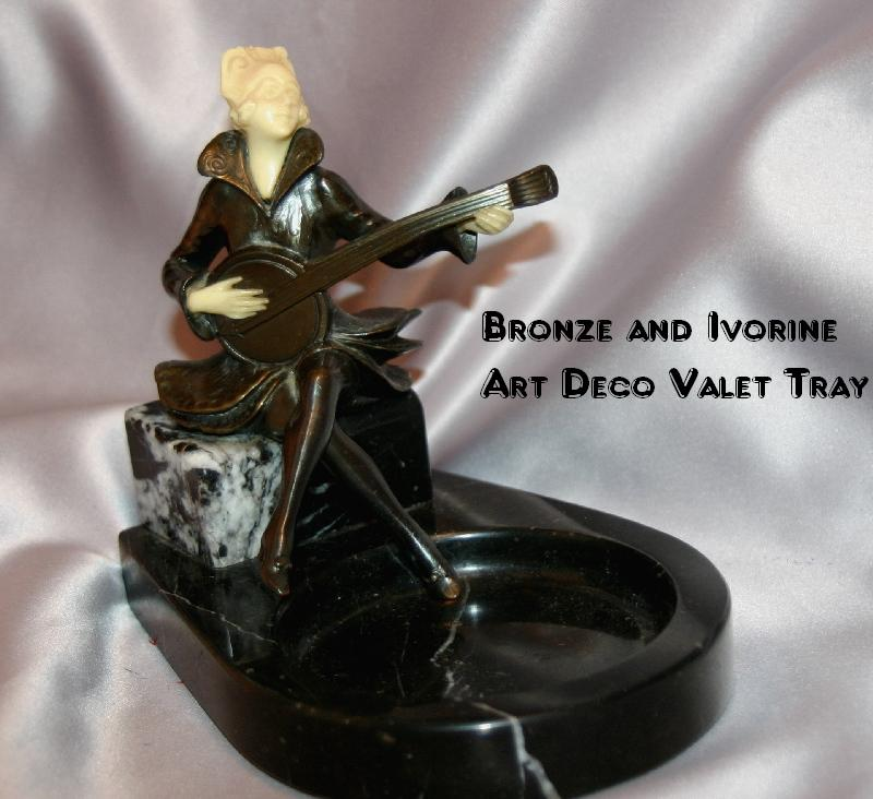 Alluring ART DECO Bronze and Ivorine Valet Tray with Lady Musician