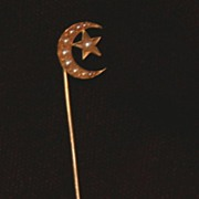 Sweet Victorian 14K Gold & Pearl Moon and Star Stickpin