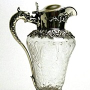 Exquisite Sterling Silver Mounted Etched Crystal Syrup by Durgin and Hawkes Circa 19th C.