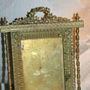 Antique French Empire Figural Gilt Bronze Frame Forget-me-Nots