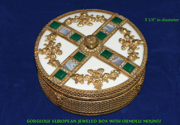 EXQUISITE Antique JEWELED French Ormolu Dresser Jar Box