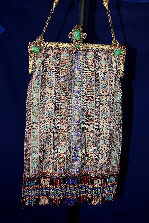 Antique Jeweled Frame Microbeaded Carpet Design Handbag