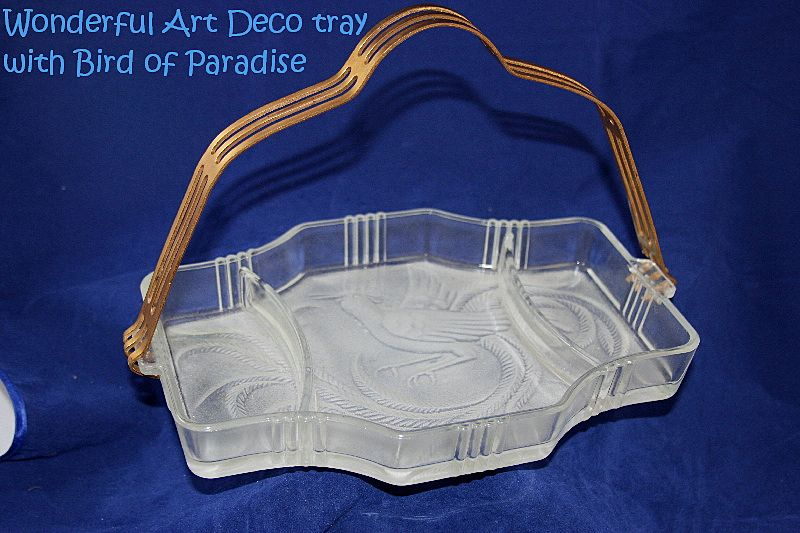 Art Deco BIRD OF PARADISE Frosted Tray with Handle