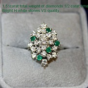 Breathtaking ESTATE Diamond & Emerald Cocktail Ring