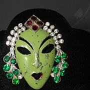 Art Deco Reinad Asian Princess Mask Enameled Jeweled Fur Clip Brooch