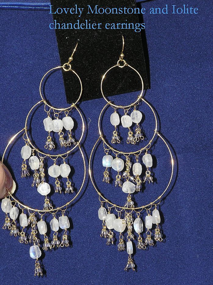 Magnificent Carved Moonstone and Iolite Chandelier Earrings in Gold Vermeil