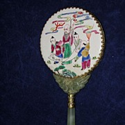 Antique Chinese FAMILLE ROSE Porcelain Jade Hand Mirror