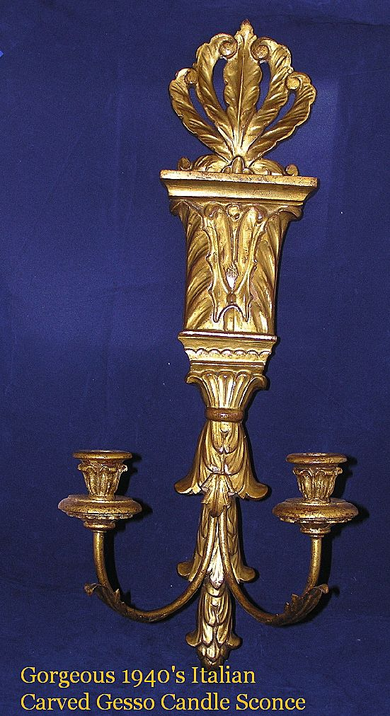 Exquisite ITALIAN Carved Gold Giltwood Candleabra Wall Sconce