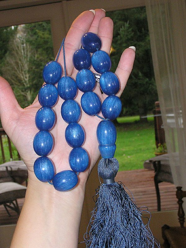 Gorgeous Antique Chinese Blue Amber Komboloi Mala Prayer Beads