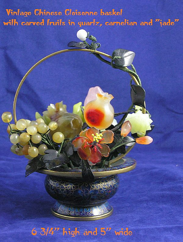 Vintage Chinese Cloisonne and Hardstone Carved Fruits Basket