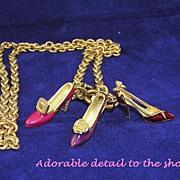 Vintage Designer BOB MACKIE Enamel Shoe Necklace
