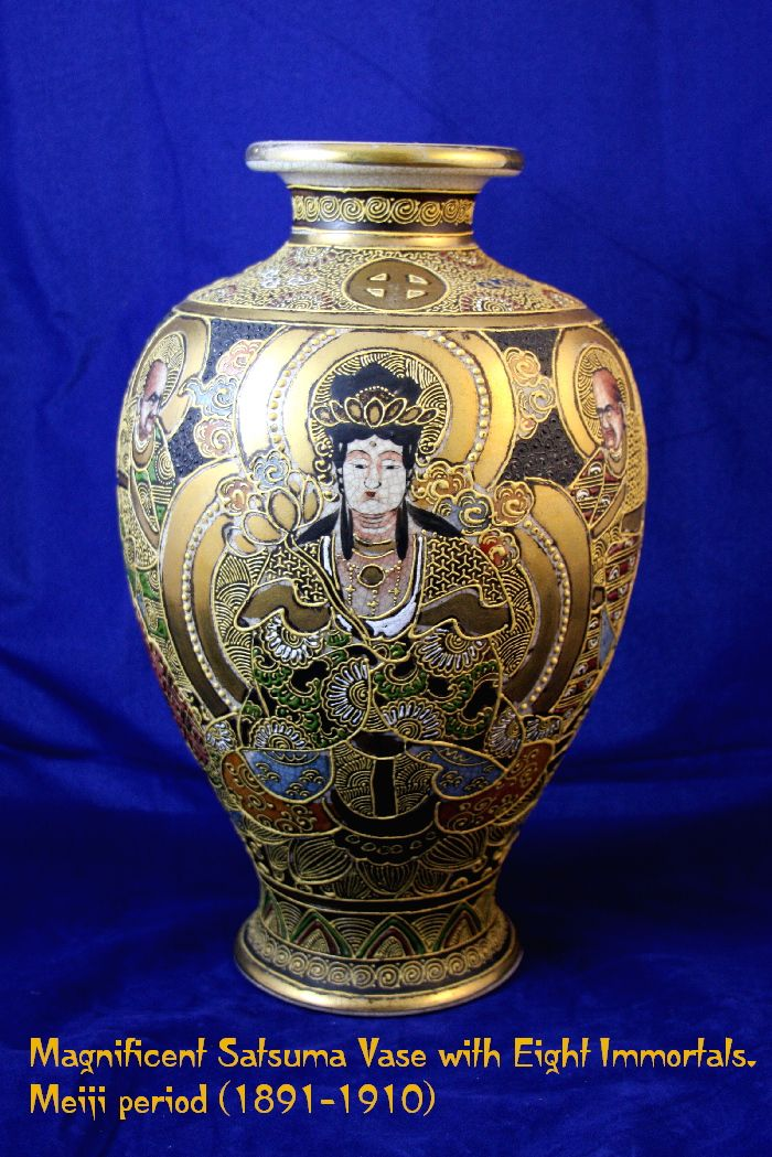 Magnificent Japanese SATSUMA  Vase with Immortals