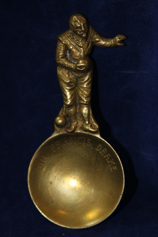 Wonderful Antique English Brass Figural  Tea Caddy Spoon of Sir Fancis Drake
