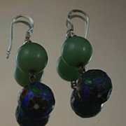 Lovely Antique Chinese Enamel and Jade Drop Earrings