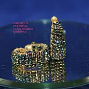 Luscious Vintage Carnival Glass Beaded Earrings