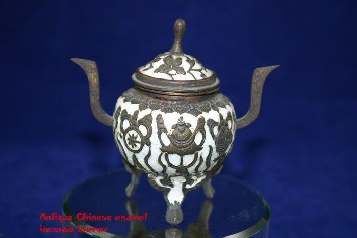 Antique Chinese Enamel Censer with Buddhist Symbols