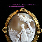Exquisite Large Antique Cameo in Elaborate 14K Gold Frame with Ribbons