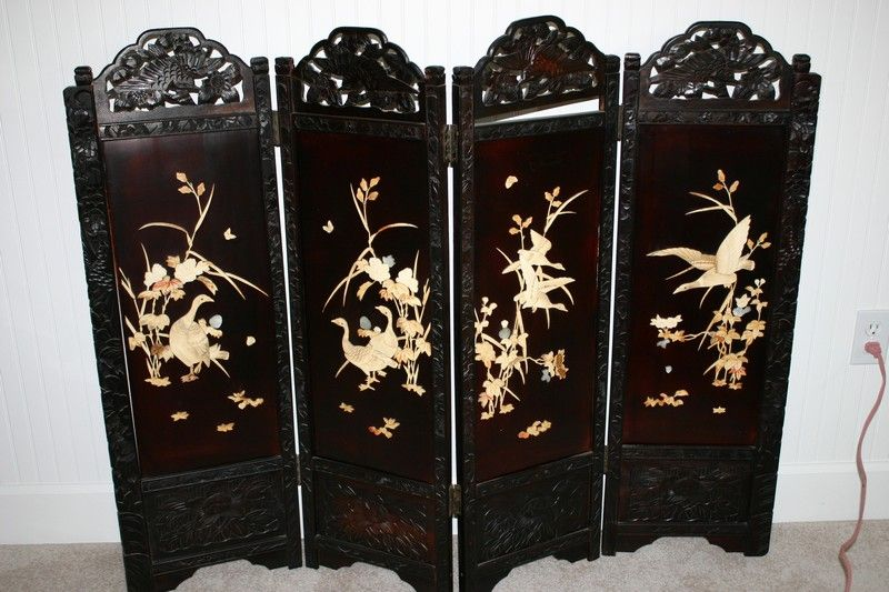 Antique Chinese Ching Dynasty Carved Soapstone Screen From