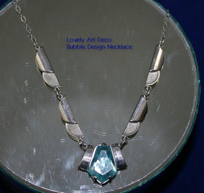 Architectural  ART DECO Bubble Design Necklace with Aqua Stone