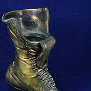 Antique Victorian Metal Ladies Boot Doorstop
