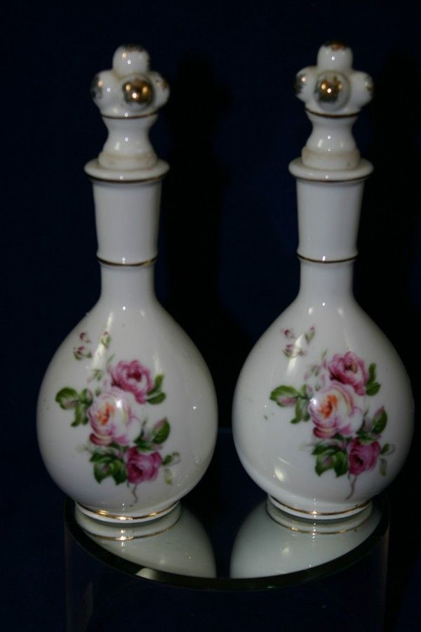 Lovely pair of Vintage Japanese Porcelain Perfume bottles with Roses