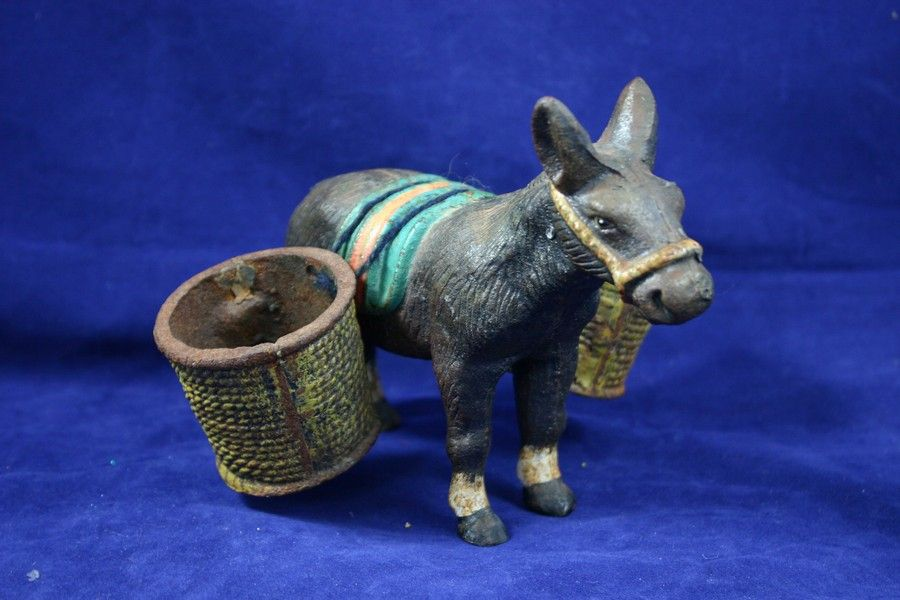 Antique Cast Iron Burro or Donkey Match & Cigarette Holder