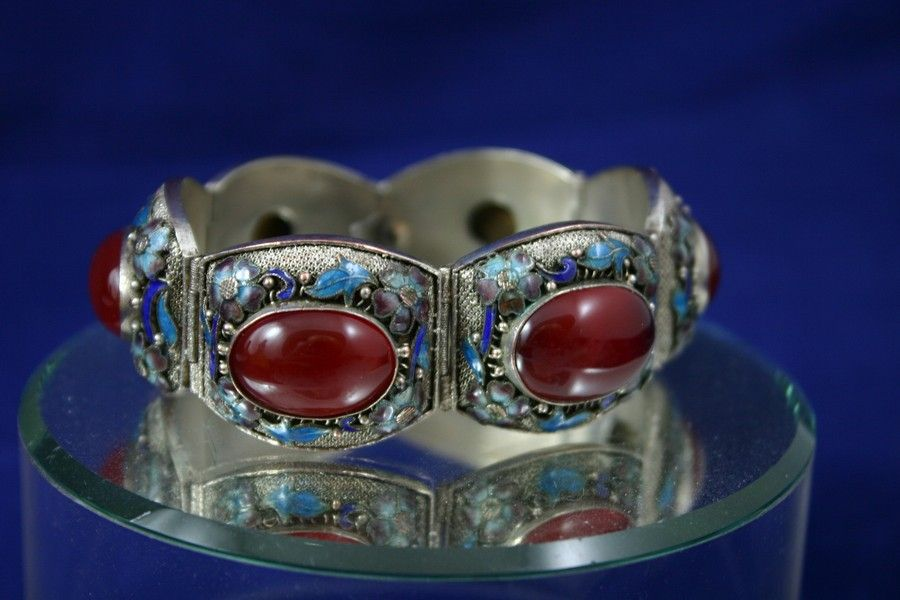 Antique Chinese Silver Filigree and Enamel Oxblood Carnelian Bracelet