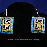 Antique Chinese Art Deco Blue Enamel and Carved Bone Earrings