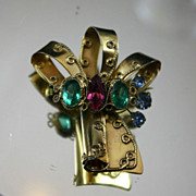 Gorgeous Sterling Vermeil ROBERT ORIGINAL Bow Brooch with Pastel Rhinestones