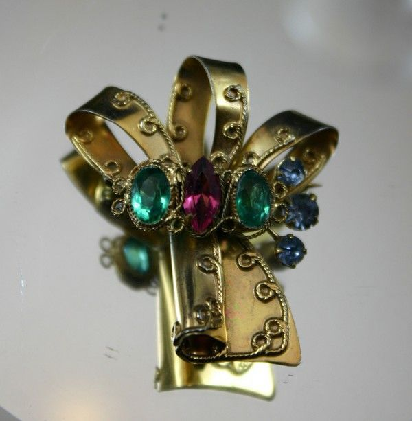 Gorgeous Sterling Vermeil ORIGINAL by ROBERT  Bow Brooch with Pastel Rhinestones