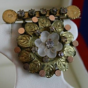 Lovely Antique Victorian Brooch with Frosted Glass Flower Circa 1880