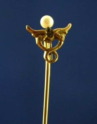 Lovely Antique Foster and Bailey Stickpin Sea Serpents Guarding Pearl