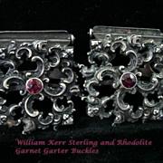 Fine Art Nouveau Sterling Ruby Jeweled Cherub Garter Buckles by William Kerr RARE!
