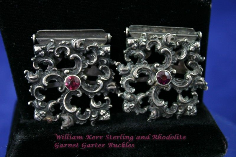 Fine Art Nouveau Sterling Ruby Jeweled Cherub Garter Buckles by William Kerr RARE!