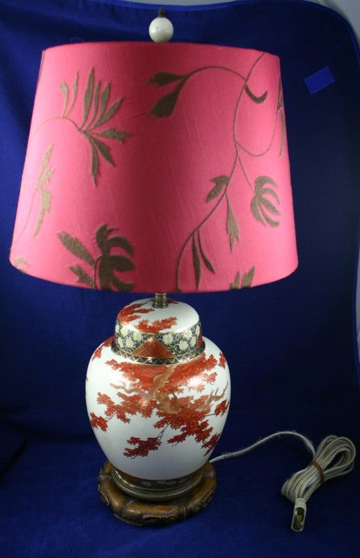 Beautiful MEIJI SATSUMA Table Lamp with Chrysanthemums