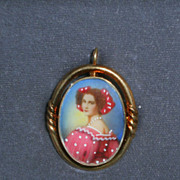 Lovely Vintage Miniature Portrait of Victorian Lady Pendant and Earrings Set