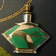 Fabulous ART DECO Sterling and Enamel Geometric Perfume Bottle