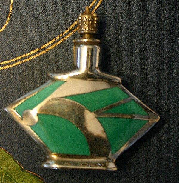 Fabulous ART DECO Sterling and Enamel Geometric Perfume Bottle