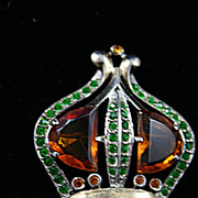 Colorful Vintage Jeweled Sterling Crown Brooch