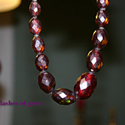 Gorgeous Deco Prystal BAKELITE Cherry Amber Bead Necklace