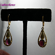 Vintage Art Deco Rhodolite Garnet Pendant Earrings