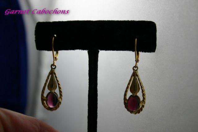 Vintage Art Deco Rhodolite Garnet Pendant Earrings