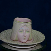 Vintage Egyptian Revival SCHAFER and VATER Figural Cup &  Saucer