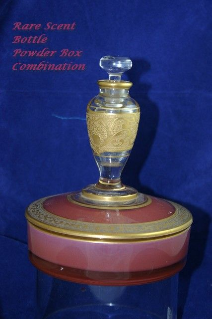 Unusual Deco Pink Glass and Gold Encrusted Powder Jar Perfume Bottle Duette