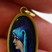 Divine!  LIMOGES French Enamel Portrait  Pendant with St. Fabiola