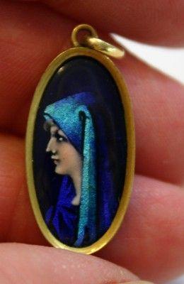 Divine!  LIMOGES French Enamel Portrait  Pendant with St. Fabiola
