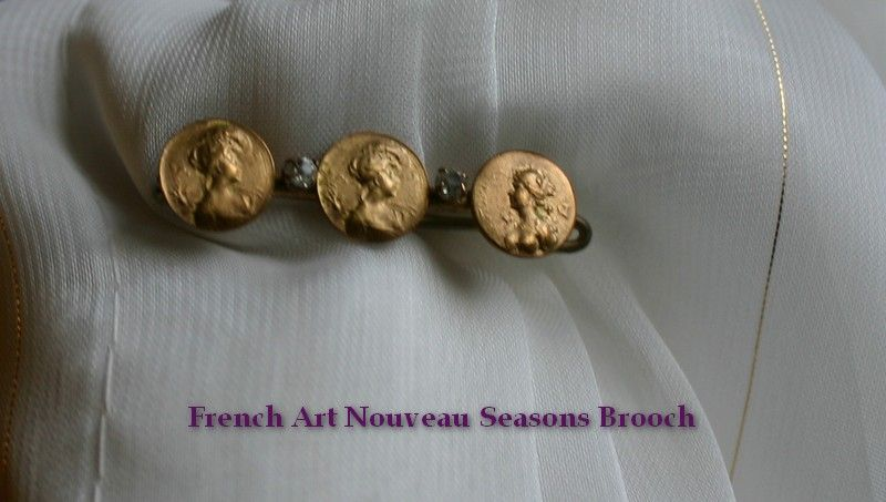 French Antique  Belle Epoque 10k Gold Brooch with Ladies of the Four Seasons