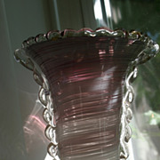 Magnificent Murano Barovier & Toso  Vase in Rare Aubergine Color!