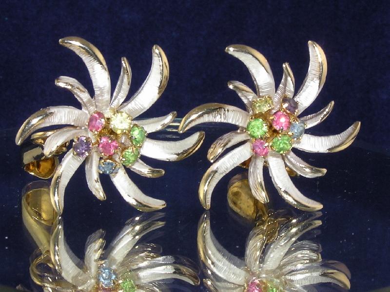 Gorgeous Vintage Starburst Rhinestone Earrings by ACT